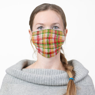 Christmas Plaid Pattern Adult Cloth Face Mask