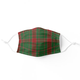 Christmas Plaid Tartan Red Green Washable Fabric Adult Cloth Face Mask