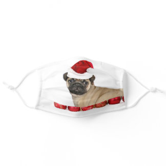 Christmas pug dog face mask cover