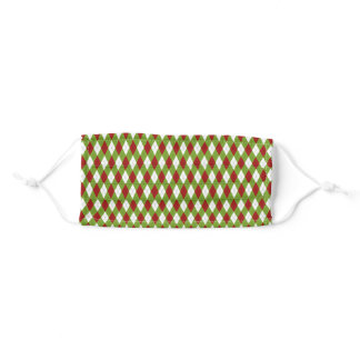 Christmas Red and Green Argyle Harlequin Pattern Adult Cloth Face Mask