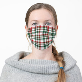 Christmas Red And Green Plaid Adult Cloth Face Mask