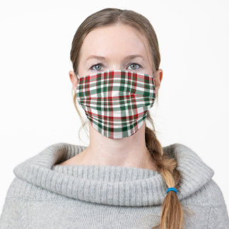 Christmas Red And Green Plaid Cloth Face Mask