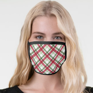 Christmas Red Green Plaid Pattern Face Mask