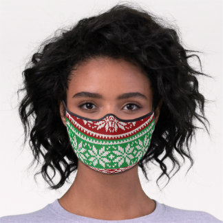 Christmas Red & Green Sweater Premium Face Mask