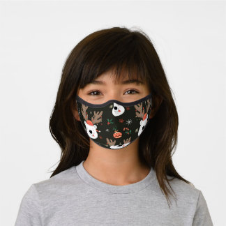Christmas Reindeer in Hats Premium Face Mask