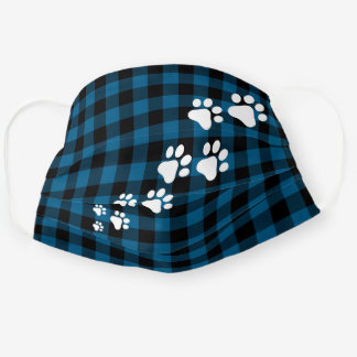 Christmas Snow Dog Paws Blue Black Buffalo Checks Cloth Face Mask
