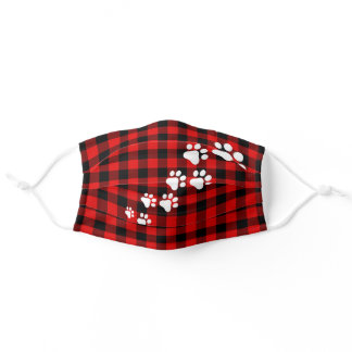 Christmas Snow Dog Paws Red Black Buffalo Checks Adult Cloth Face Mask