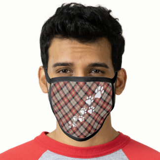 Christmas Snow Dog Paws Red Brown Black Plaid Face Mask