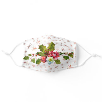 Christmas Snowflake Floral Pattern Adult Face Mask