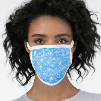 Christmas  Snowflakes Sparkles in Blue Face Mask