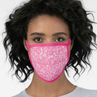 Christmas  Snowflakes Sparkles in Pink Face Mask
