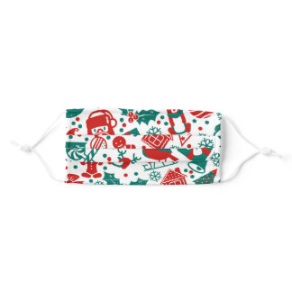 Christmas Spirit Green and Red Pattern Adult Cloth Face Mask