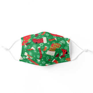 Christmas Stockings Cute Red Green Holiday Pattern Adult Cloth Face Mask