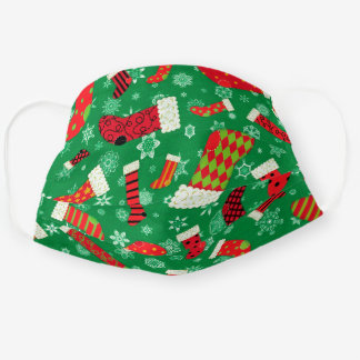 Christmas Stockings Cute Red Green Holiday Pattern Cloth Face Mask