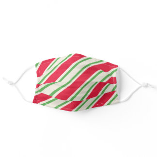 Christmas Stripe Cloth Face Mask with Filter Slot