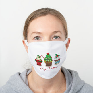 Christmas sweets white cotton face mask