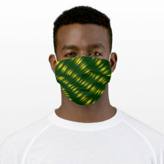 Christmas Theme  Wavey Pattern Gold & Green Adult Cloth Face Mask