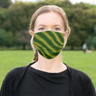 Christmas Theme  Wavy Pattern Gold & Green Adult Cloth Face Mask