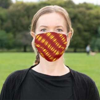 Christmas Theme  Wavy Pattern Gold & red Adult Cloth Face Mask