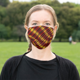 Christmas Theme  Wavy Pattern Gold & Red & Black, Adult Cloth Face Mask
