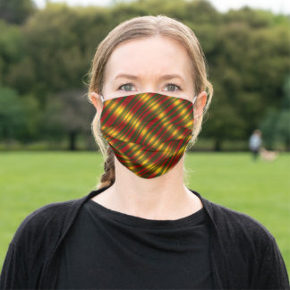 Christmas Theme  Wavy Pattern Gold & Red & Green, Adult Cloth Face Mask