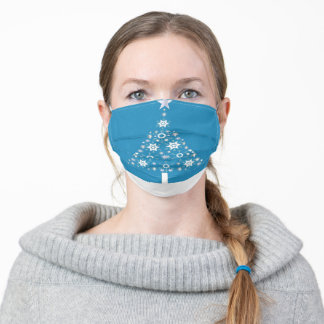 Christmas Tree Of Snowflakes and Stars On Cerulean Adult Cloth Face Mask