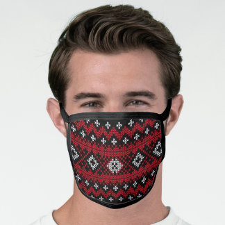 Christmas Ugly Sweater Cross-stitch Funny Face Mask