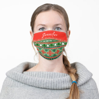 Christmas ugly sweater knit pattern custom name adult cloth face mask