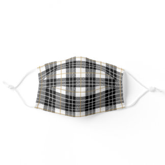 Christmas White, Gold, and Black Tartan Plaid Adult Cloth Face Mask