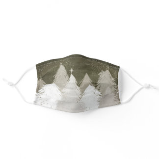 Christmas White & Gray Snow-Covered Pine Trees Adult Cloth Face Mask