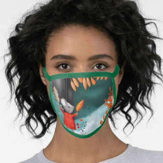 Christmas wine mouse fall forest face mask
