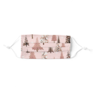 Christmas Winter Pink and Brown Christmas Trees Adult Cloth Face Mask