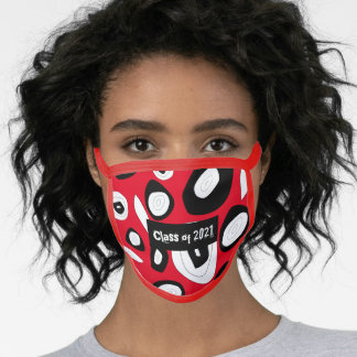 Class 2021 abstract oval shapes red black white face mask
