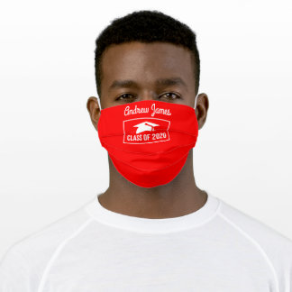 Class of 2020 -bright red adult cloth face mask