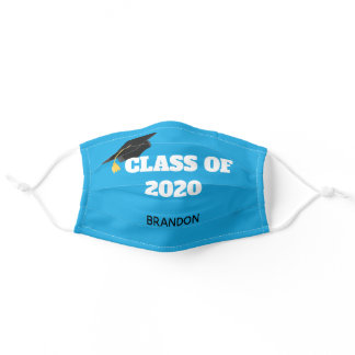 Class of 2020 Custom Graduation Bright Blue Adult Cloth Face Mask