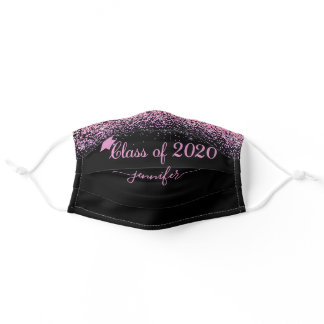 Class of 2020 Glam Glitter Pink Graduation Adult Cloth Face Mask