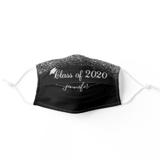 Class of 2020 Glam Glitter Silver Graduation Adult Cloth Face Mask