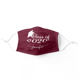 Class of 2020 Graduate Burgundy Red Add Your Name Adult Cloth Face Mask