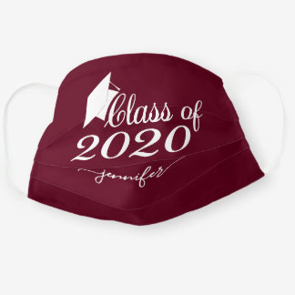 Class of 2020 Graduate Burgundy Red Add Your Name Cloth Face Mask