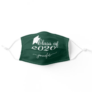 Class of 2020 Graduate Green White Add Your Name Adult Cloth Face Mask