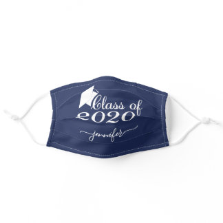 Class of 2020 Graduate Navy Blue Add Your Name Adult Cloth Face Mask