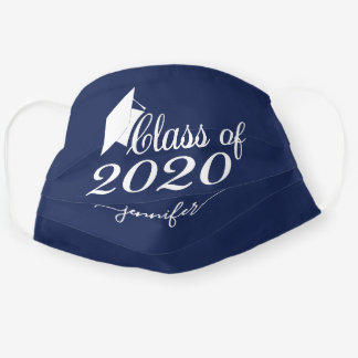 Class of 2020 Graduate Navy Blue Add Your Name Cloth Face Mask