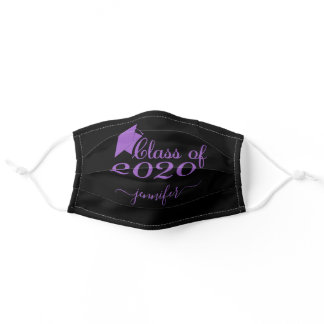 Class of 2020 Graduate Purple Black Add Your Name Adult Cloth Face Mask