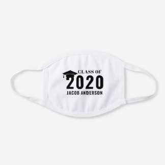 Class of 2020 Graduation | Black and White White Cotton Face Mask