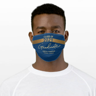 Class of 2021 blue Gold Name Graduation Adult Adult Cloth Face Mask