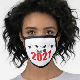 Class Of 2021 Caps And Diplomas (Red) Face Mask