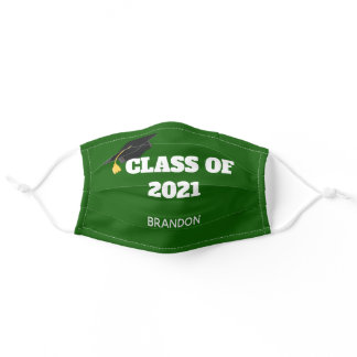Class of 2021 Custom Graduation Green Adult Cloth Face Mask