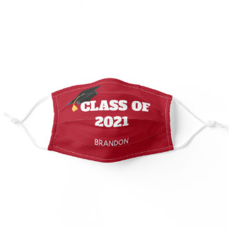 Class of 2021 Custom Graduation Red Adult Cloth Face Mask
