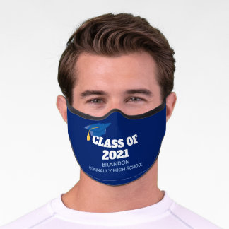 Class of 2021 Custom Senior Name Blue Graduation Premium Face Mask