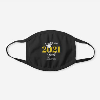 Class of 2021 Grad Gold on Black Graduation Black Cotton Face Mask